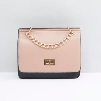 Solid Satchel Bag with Twist Lock and Adjustable Shoulder Strap