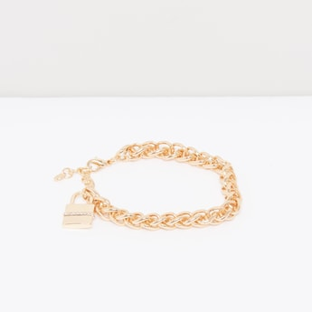 Metallic Bracelet with Studded Charm