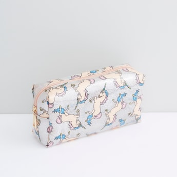 Unicorn Printed Pouch with Zip Closure