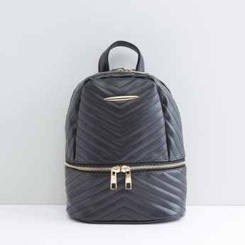 Quilted Stitch Detail Backpack with Zip Closure and Front Pocket