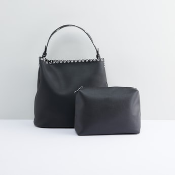 Eyelet Detail Handbag with Zippered Pouch