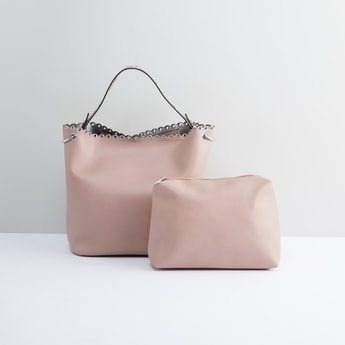 Eyelet and Scallop Detail Handbag with Pouch