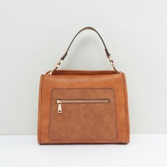 Solid Handbag with Zip Closure and Top Handle