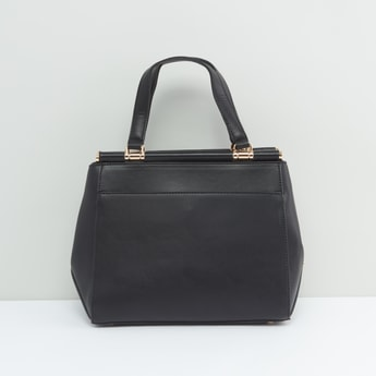 Solid Handbag with Twin Strap Handles