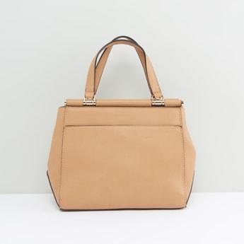 Solid Handbag with Twin Strap Handles