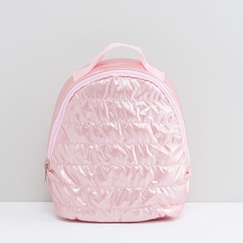 Textured Backpack with Zip Closure and Adjustable Shoulder Straps