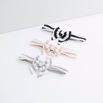 Striped Headband with Bow Detail - Set of 3