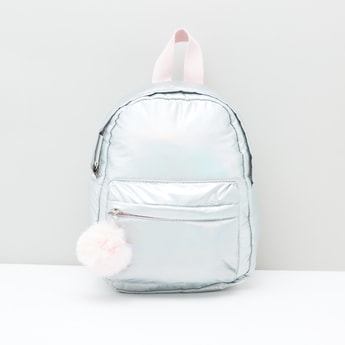Solid Backpack with Pom Pom Detail