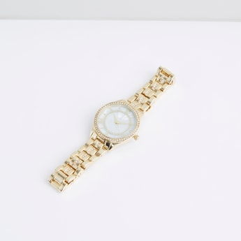 Studded Wristwatch with Round Dial