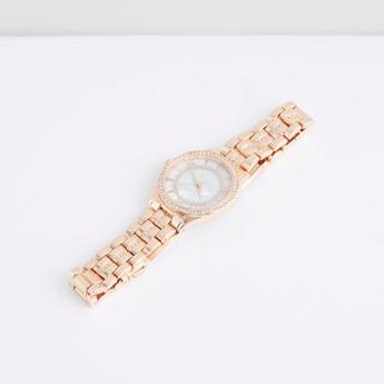 Studded Round Dial Wristwatch