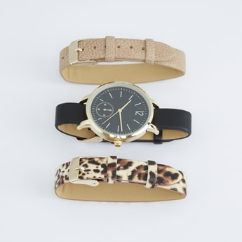 Analogue Round Dial Wristwatch and Straps Set