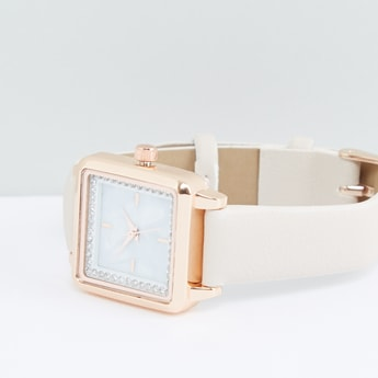 Studded Square Dial Wristwatch