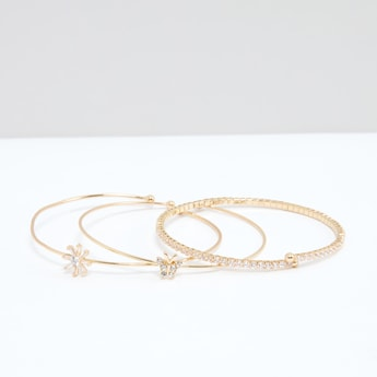 Studded Open End Bracelet - Set of 3