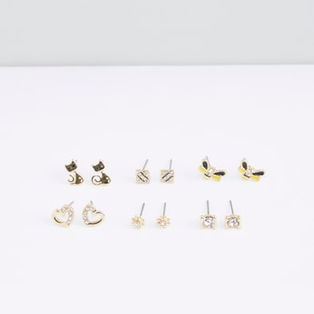 Crystal Studded Stud Earrings - Set of 6