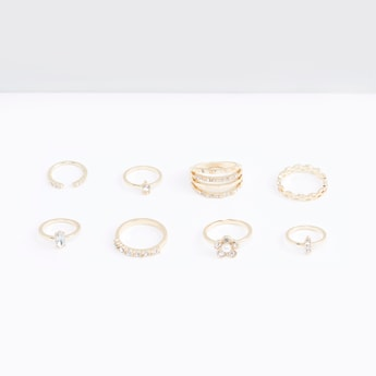 Set  of 8 - Studded Finger Rings