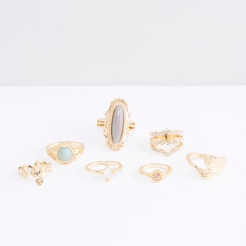 Metallic Glazed 7-Piece Ring Set