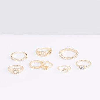 Metallic Glazed 8-Piece Ring Set