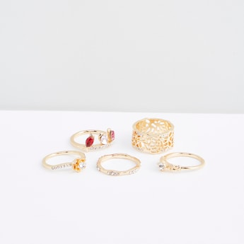 Set of 5 - Studded Detail Finger Rings
