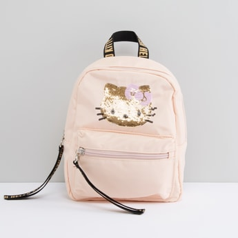 Hello Kitty Sequin Detail Backpack with Printed Adjustable Straps