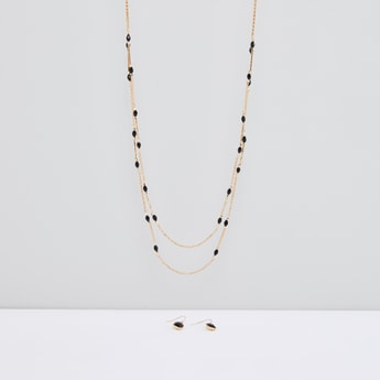 Multilayer Necklace and Dangling Earrings Set