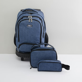 Solid 3-Piece Trolley Backpack Set