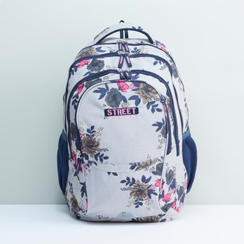Floral Printed Backpack with Adjustable Shoulder Straps