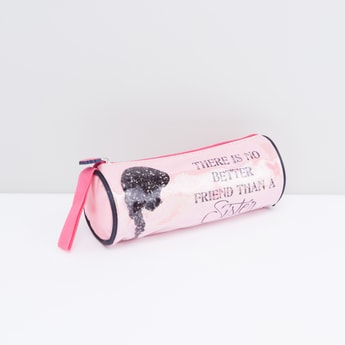 Glittery Cylindrical Pencil Case with Text Print