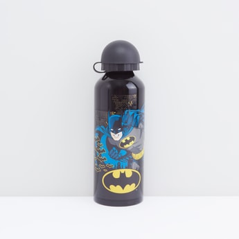 Batman Themed Metal Water Bottle with Attached Lid