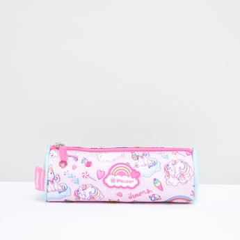 Printed Cylindrical Pencil Case with Zip Closure