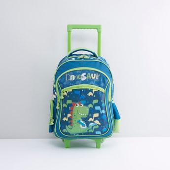 حقيبة ظهر بعجلات مع مقبض قابل للسحب وطبعات ديناصور