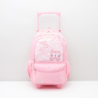 Hello Kitty Printed Trolley Backpack with Adjustable Shoulder Straps