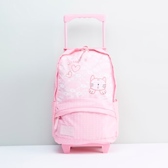Printed Trolley Backpack with Retractable Handle