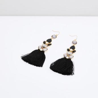 Embellished Earrings with Tassel Detail