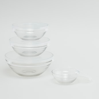 Set of 4 - Glass Bowl with Lid