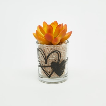 Artificial Plant in Glass Pot - 6x6 cms
