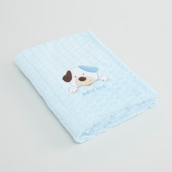 Plush Blanket with Embroidered Applique - 100x75 cms