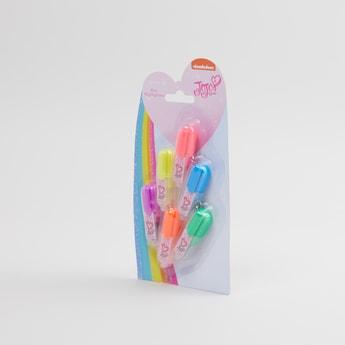 طقم أقلام هايلايتر من ستة قطع بطبعات