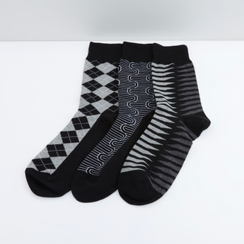 Set of 3 - Printed Socks with Ribbed Cuff