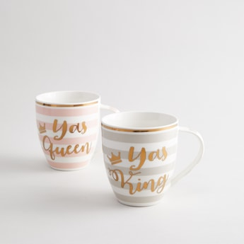 Set of 2 - Printed Mugs with Handle