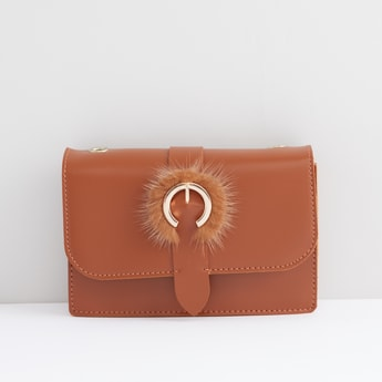 Embellished Crossbody Bag with Snap Button Closure
