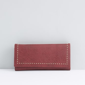 Embellished Bi-Fold Wallet with Snap Button Closure