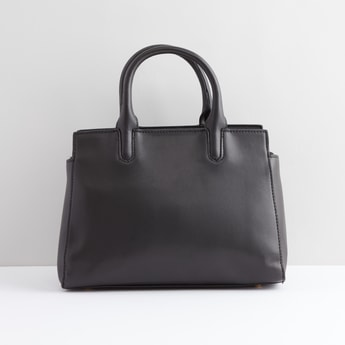 Hand Bag with Metallic Glazed Zip Closure