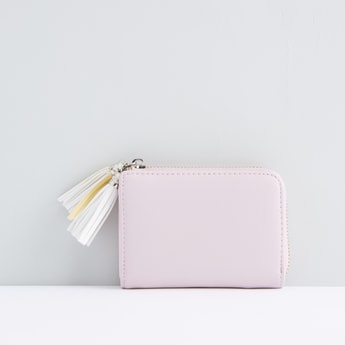 Tassel Detail Wallet with Zip Closure