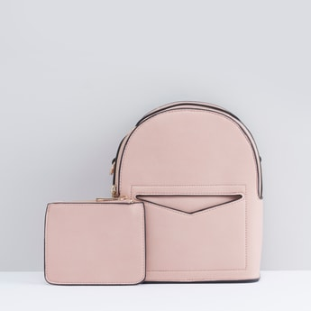 Solid Backpack with Piping Detail and Zippered Pouch