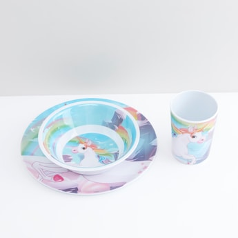 Unicorn Printed 3-Piece Crockery Set