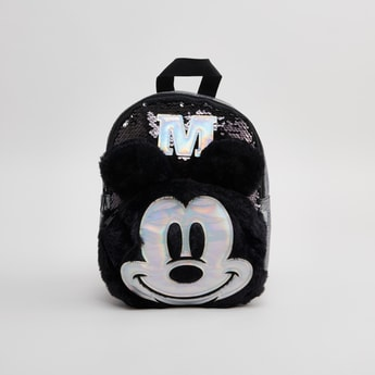Mickey Mouse Sequin Detail Backpack with Zip Closure