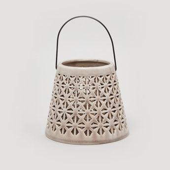 Decorative Handle with Lattice Work and Curved Handle - 14 cms