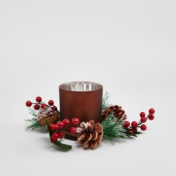 Glass Candle Holder with Holly - 18 cms