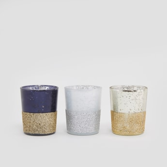 Set of 3 - Dual Tone Candle Holders with Glitter Finish