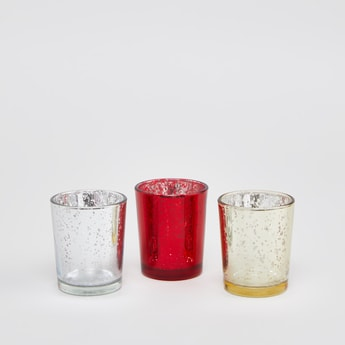Set of 3 - Textured Candle Holders
